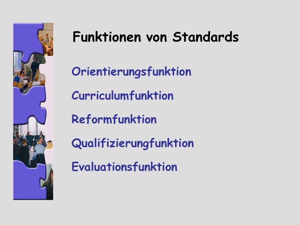 Funktionen von Standards Orientierungsfunktion Curriculumfunktion Reformfunktion Qualifizierungfunktion Evaluationsfunktion