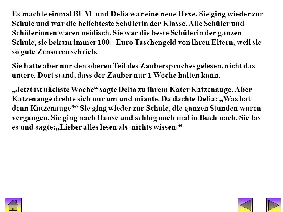 Geschichte(hexe delia) 2 Es machte einmal BUM und Delia war eine neue Hexe. Sie ging wieder zur Schule und war die beliebteste Schülerin der Klasse. A
