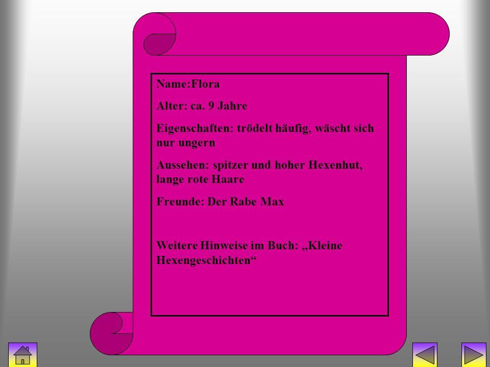 bücherhexe (Flora) Name:Flora Alter: ca. 9 Jahre Eigenschaften: trödelt häufig, wäscht sich nur ungern Aussehen: spitzer und hoher Hexenhut, lange rot