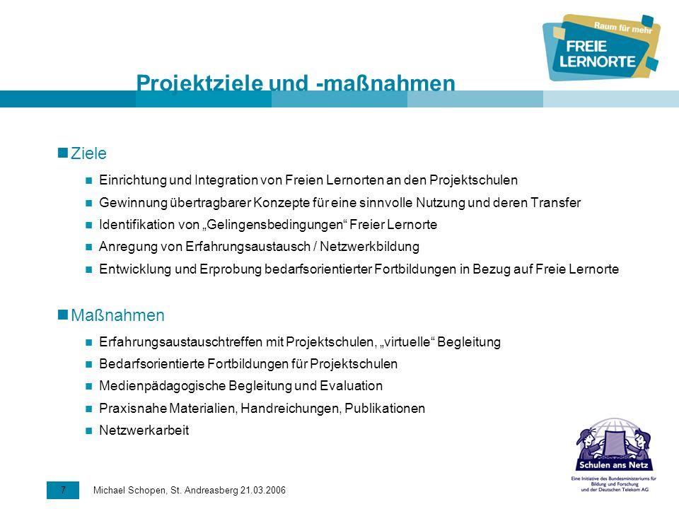 7 Michael Schopen, St. Andreasberg 21.03.2006 Projektziele und -maßnahmen Ziele Einrichtung und Integration von Freien Lernorten an den Projektschulen