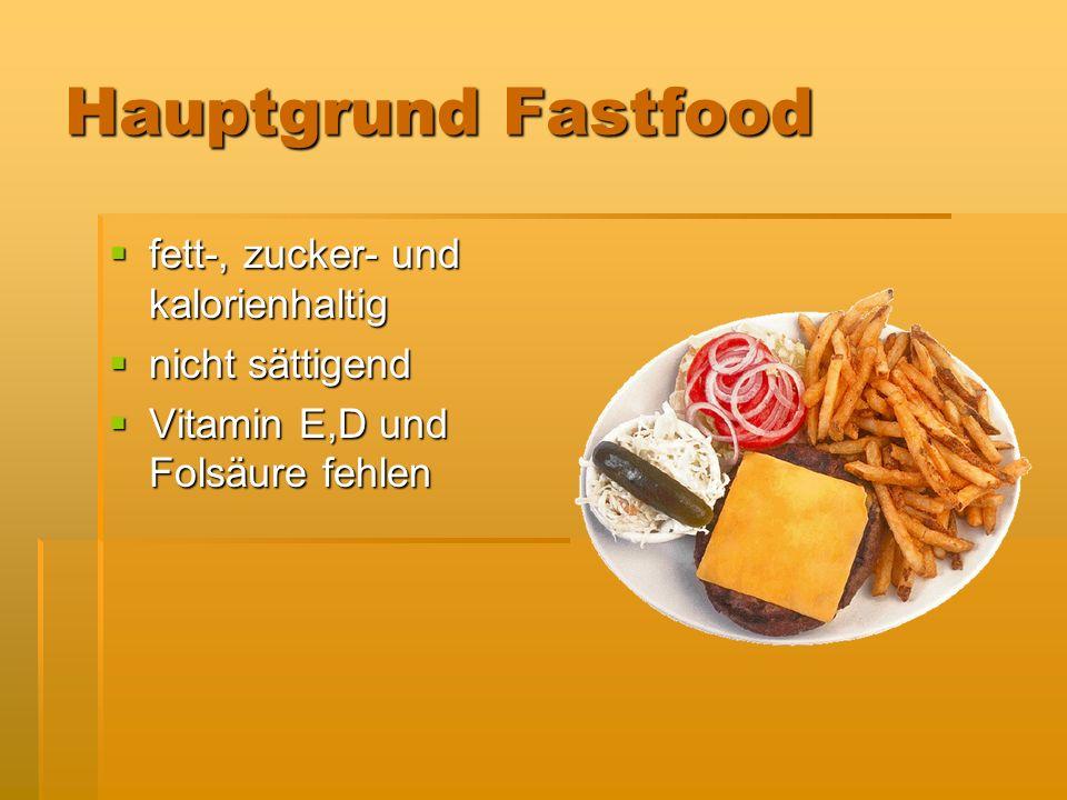 Hauptgrund Fastfood fett-, zucker- und kalorienhaltig fett-, zucker- und kalorienhaltig nicht sättigend nicht sättigend Vitamin E,D und Folsäure fehle