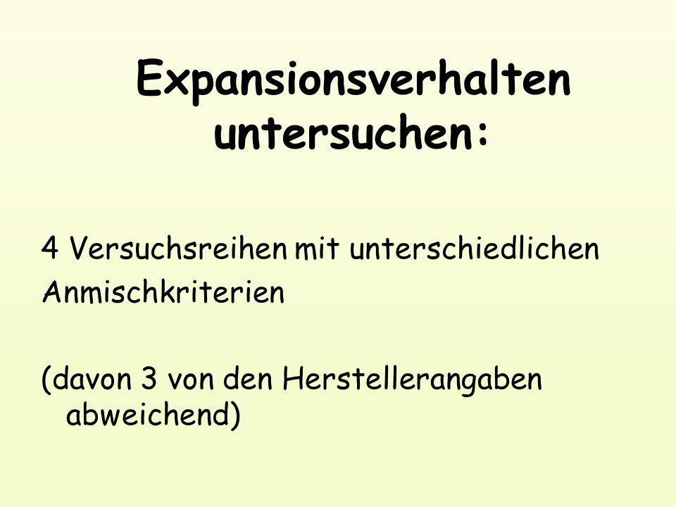 Expansionsverhalten untersuchen: 4 Versuchsreihen mit unterschiedlichen Anmischkriterien (davon 3 von den Herstellerangaben abweichend)