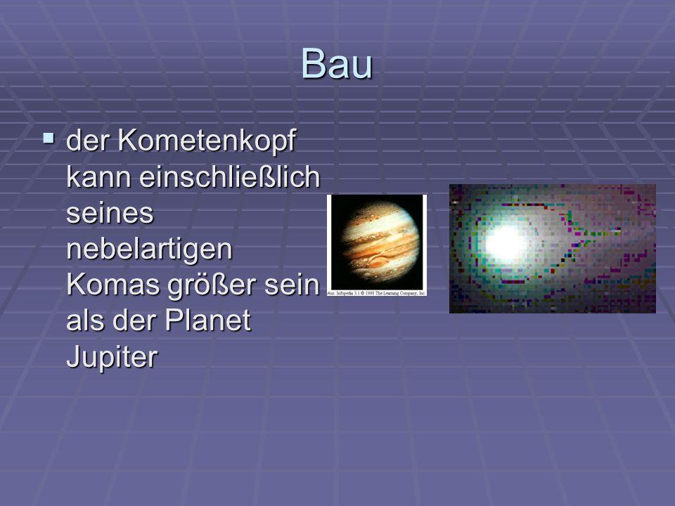 Bau der Kometenkopf kann einschließlich seines nebelartigen Komas größer sein als der Planet Jupiter der Kometenkopf kann einschließlich seines nebela