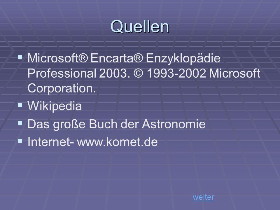 Quellen Microsoft® Encarta® Enzyklopädie Professional 2003. © 1993-2002 Microsoft Corporation. Wikipedia Das große Buch der Astronomie Internet- www.k