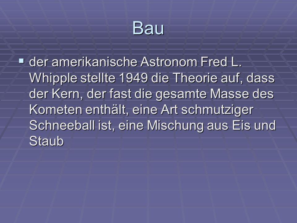 Bau der amerikanische Astronom Fred L. Whipple stellte 1949 die Theorie auf, dass der Kern, der fast die gesamte Masse des Kometen enthält, eine Art s