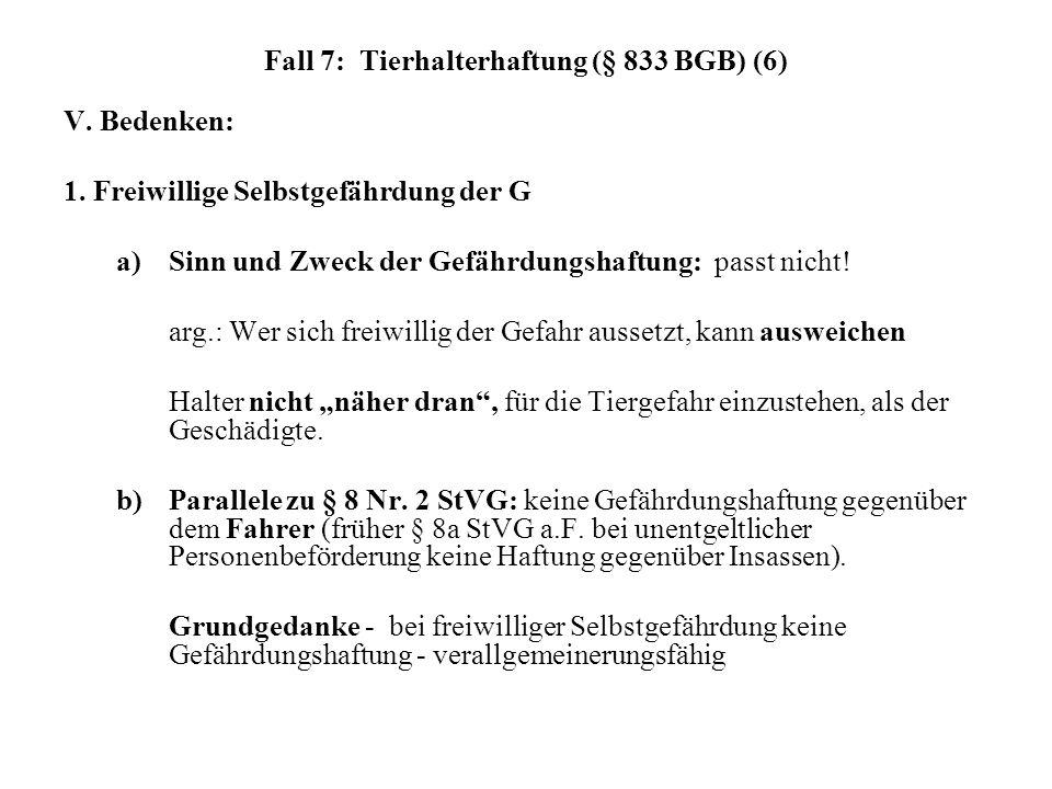 Fall 7: Tierhalterhaftung (§ 833 BGB) (6) V. Bedenken: 1. Freiwillige Selbstgefährdung der G a) Sinn und Zweck der Gefährdungshaftung: passt nicht! ar