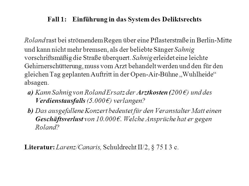 Fall 1:Einführung in das System des Deliktsrechts Roland rast bei strömendem Regen über eine Pflasterstraße in Berlin-Mitte und kann nicht mehr bremse