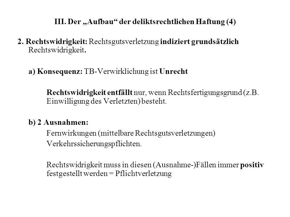 III.Der Aufbau der deliktsrechtlichen Haftung (4) 2.
