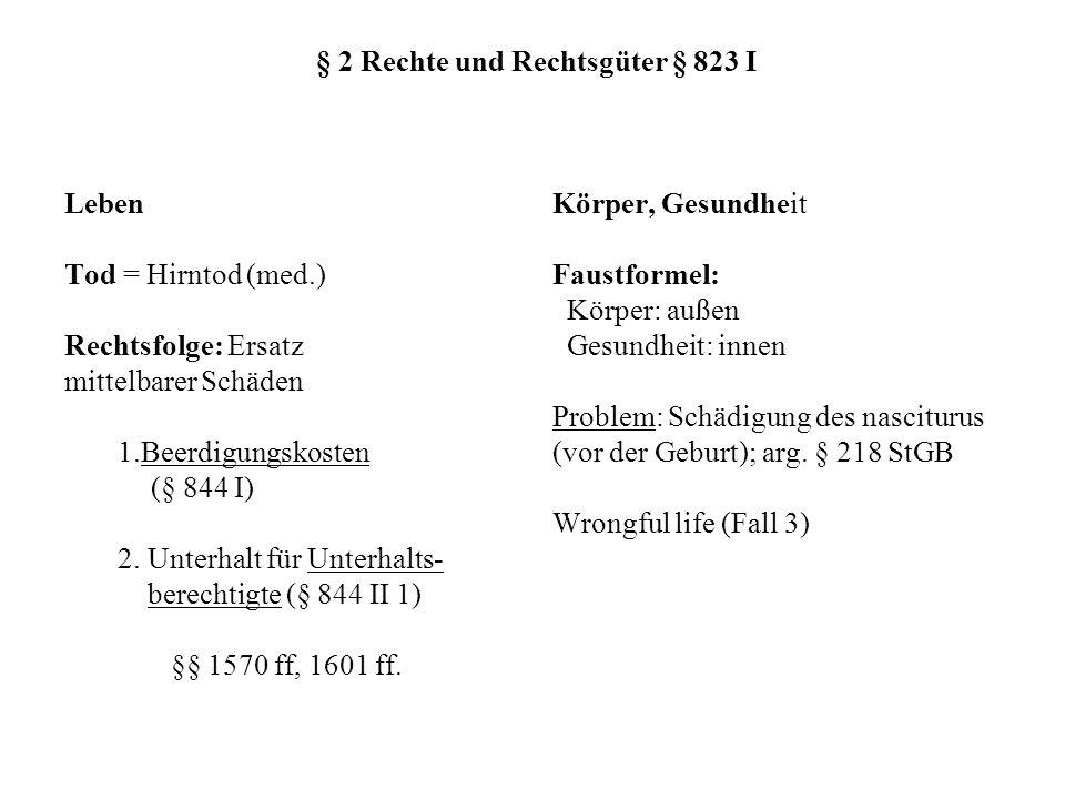 § 2 Rechte und Rechtsgüter § 823 I Leben Tod = Hirntod (med.) Rechtsfolge: Ersatz mittelbarer Schäden 1.Beerdigungskosten (§ 844 I) 2. Unterhalt für U