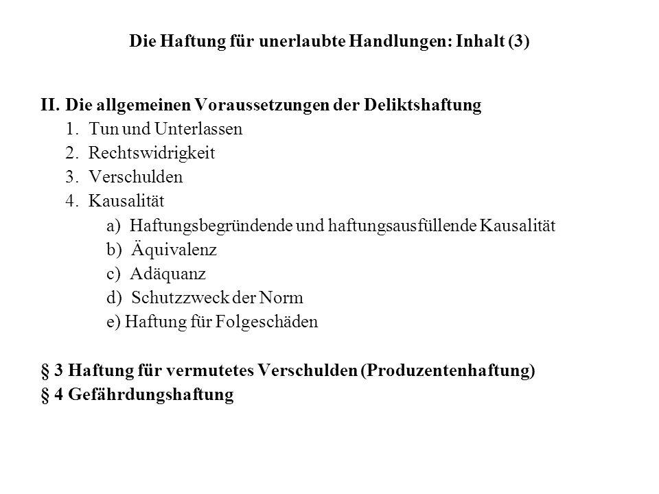 Die Haftung für unerlaubte Handlungen: Inhalt (3) II. Die allgemeinen Voraussetzungen der Deliktshaftung 1. Tun und Unterlassen 2. Rechtswidrigkeit 3.