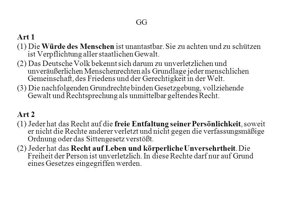 GG Art 1 (1) Die Würde des Menschen ist unantastbar. Sie zu achten und zu schützen ist Verpflichtung aller staatlichen Gewalt. (2) Das Deutsche Volk b