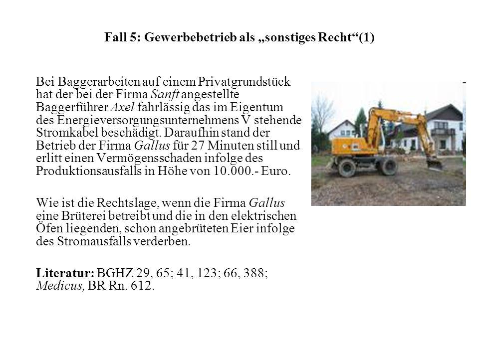 Fall 5: Gewerbebetrieb als sonstiges Recht(1) Bei Baggerarbeiten auf einem Privatgrundstück hat der bei der Firma Sanft angestellte Baggerführer Axel fahrlässig das im Eigentum des Energieversorgungsunternehmens V stehende Stromkabel beschädigt.