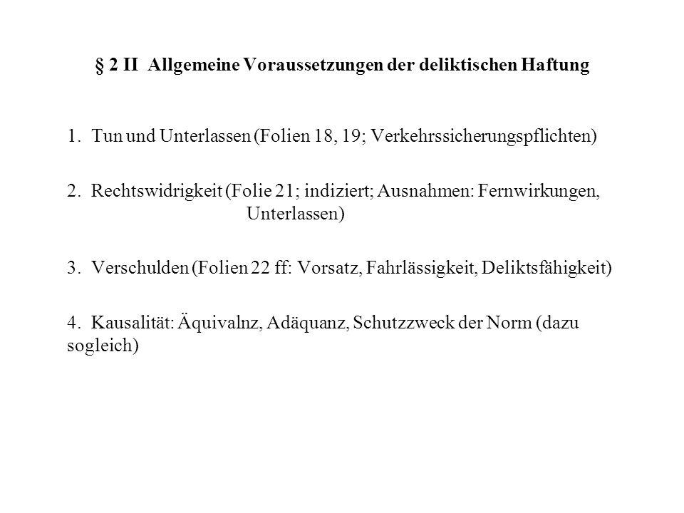 § 2 II Allgemeine Voraussetzungen der deliktischen Haftung 1. Tun und Unterlassen (Folien 18, 19; Verkehrssicherungspflichten) 2. Rechtswidrigkeit (Fo