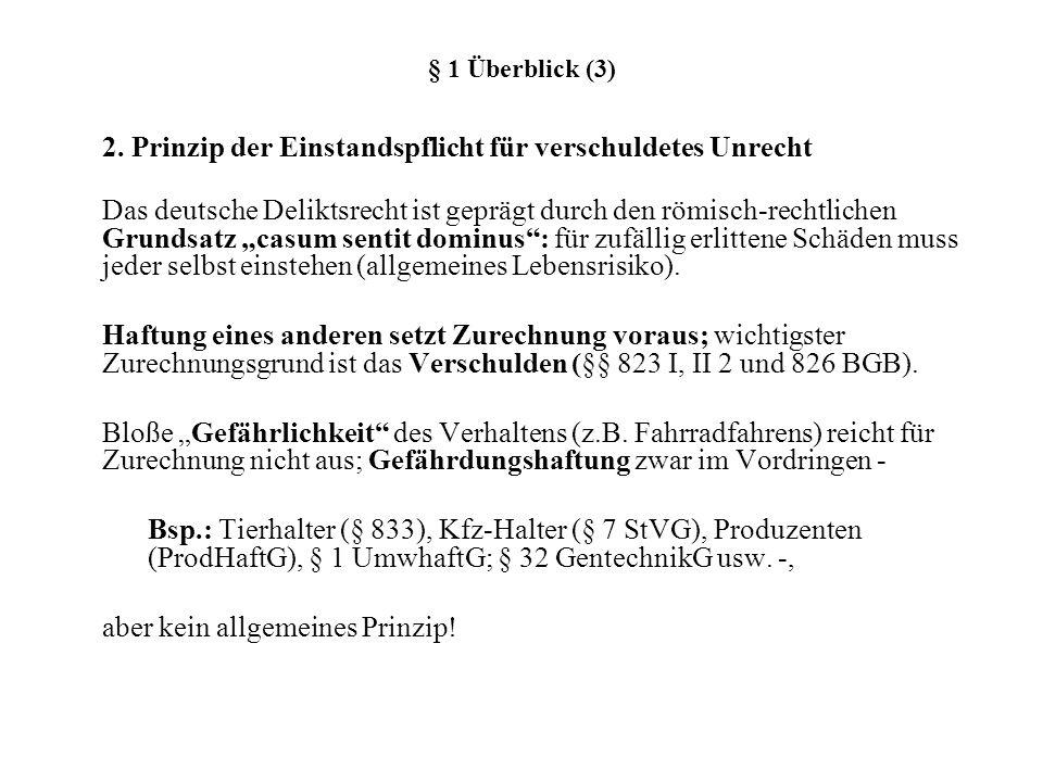 § 1 Überblick (3) 2. Prinzip der Einstandspflicht für verschuldetes Unrecht Das deutsche Deliktsrecht ist geprägt durch den römisch-rechtlichen Grunds