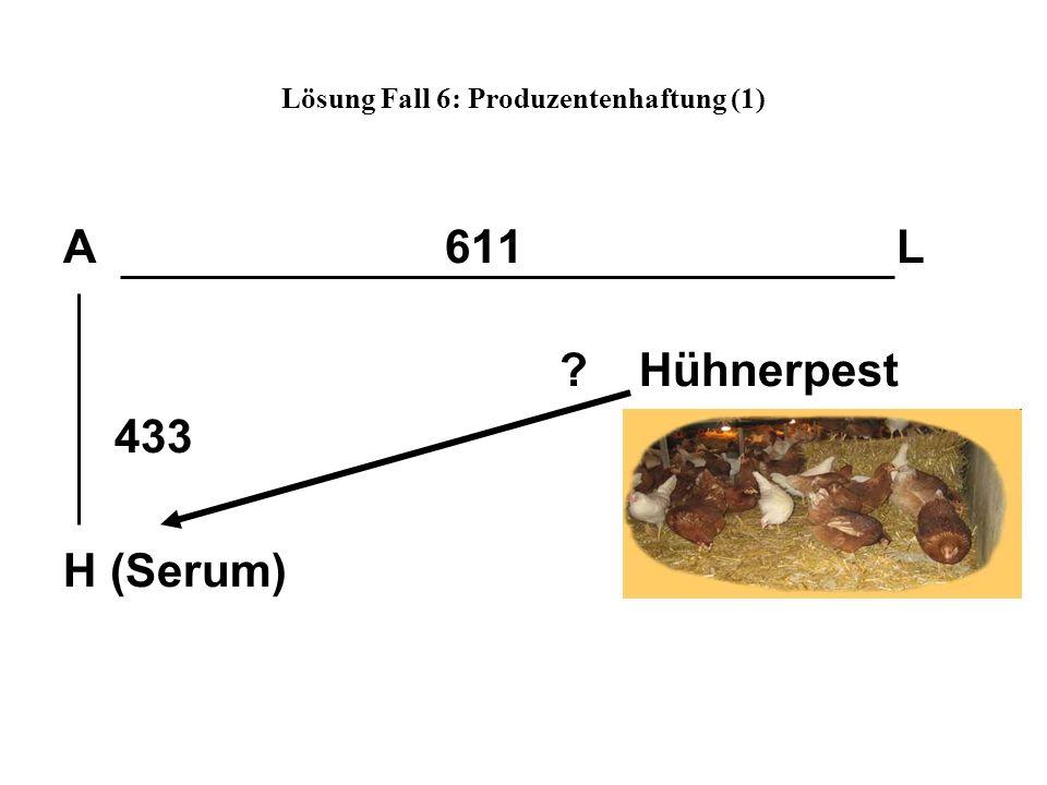 Lösung Fall 6: Produzentenhaftung (1) A 611 L ? Hühnerpest 433 H (Serum)