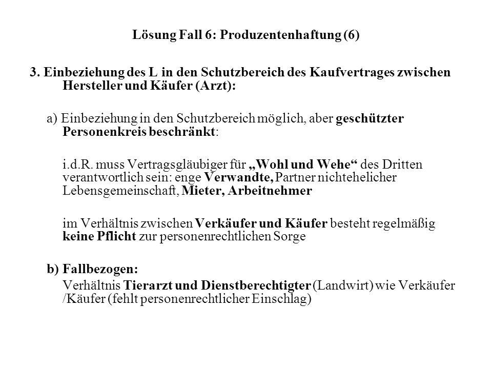 Lösung Fall 6: Produzentenhaftung (6) 3. Einbeziehung des L in den Schutzbereich des Kaufvertrages zwischen Hersteller und Käufer (Arzt): a) Einbezieh