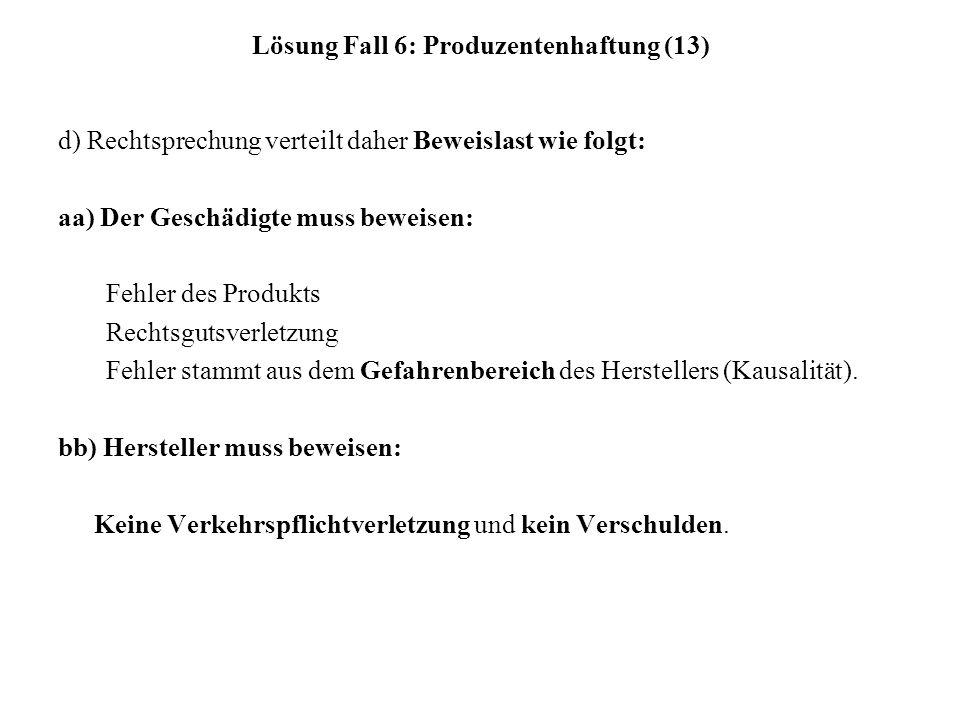 Lösung Fall 6: Produzentenhaftung (13) d) Rechtsprechung verteilt daher Beweislast wie folgt: aa) Der Geschädigte muss beweisen: Fehler des Produkts Rechtsgutsverletzung Fehler stammt aus dem Gefahrenbereich des Herstellers (Kausalität).