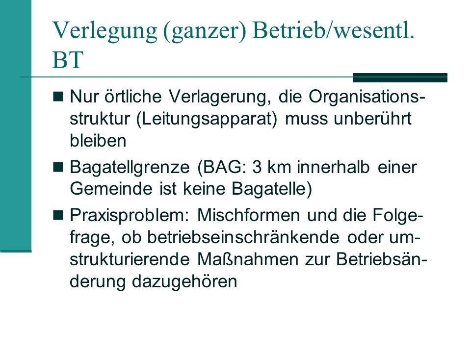 Verlegung (ganzer) Betrieb/wesentl. BT Nur örtliche Verlagerung, die Organisations- struktur (Leitungsapparat) muss unberührt bleiben Bagatellgrenze (