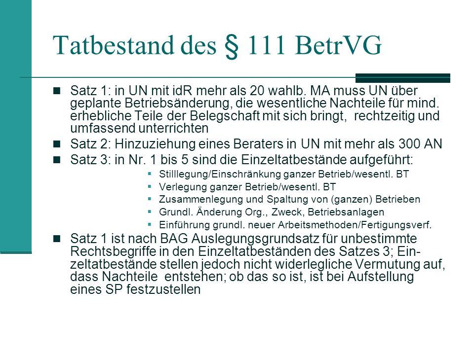 Tatbestand des § 111 BetrVG Satz 1: in UN mit idR mehr als 20 wahlb. MA muss UN über geplante Betriebsänderung, die wesentliche Nachteile für mind. er