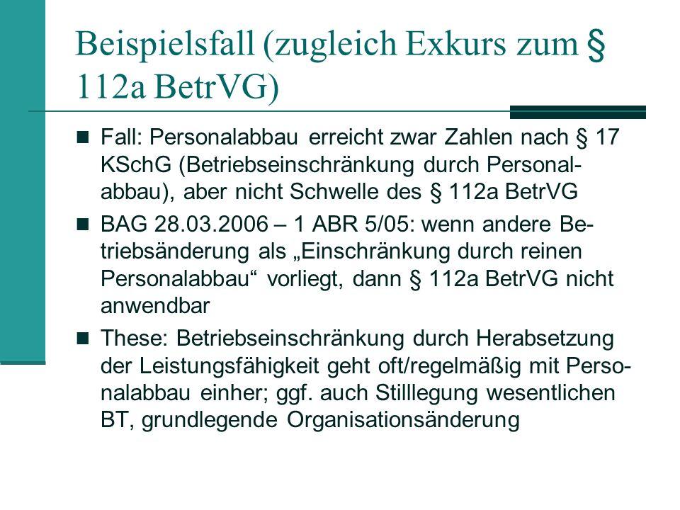 Betriebseinschränkung im Kleinbetrieb Personalabbaufälle richten sich nicht nach § 17 KSchG Positionen liegen zw.