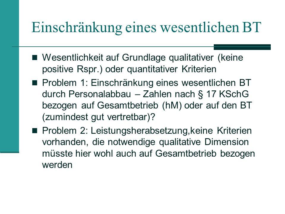 Einschränkung eines wesentlichen BT Wesentlichkeit auf Grundlage qualitativer (keine positive Rspr.) oder quantitativer Kriterien Problem 1: Einschrän