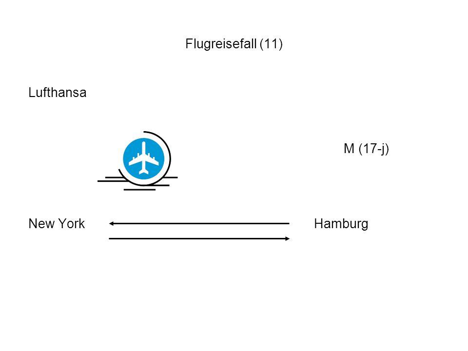 Flugreisefall (11) Lufthansa M (17-j) New York Hamburg