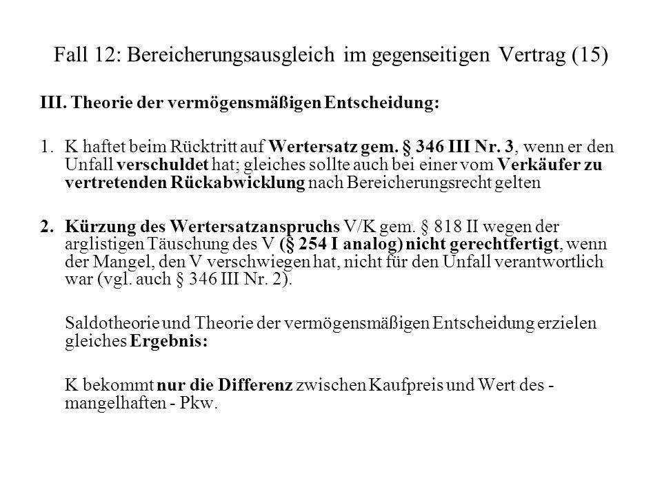 Fall 12: Bereicherungsausgleich im gegenseitigen Vertrag (15) III. Theorie der vermögensmäßigen Entscheidung: 1. K haftet beim Rücktritt auf Wertersat