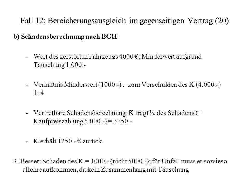 Fall 12: Bereicherungsausgleich im gegenseitigen Vertrag (20) b) Schadensberechnung nach BGH: -Wert des zerstörten Fahrzeugs 4000 ; Minderwert aufgrun