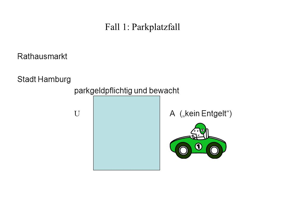 Fall 1: Parkplatzfall Rathausmarkt Stadt Hamburg parkgeldpflichtig und bewacht U A (kein Entgelt)