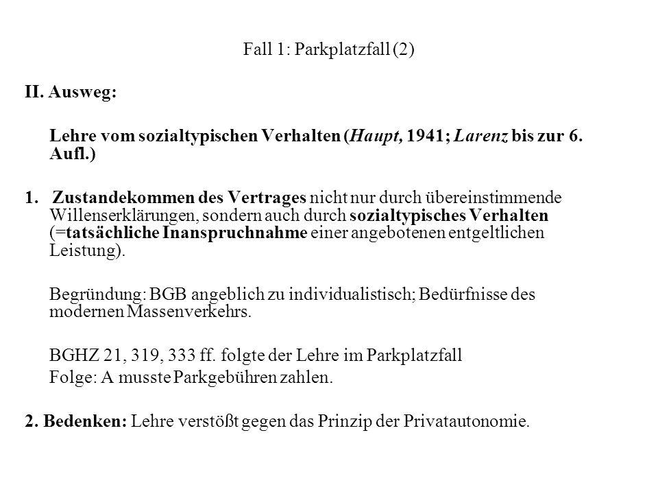 Fall 1: Parkplatzfall (2) II. Ausweg: Lehre vom sozialtypischen Verhalten (Haupt, 1941; Larenz bis zur 6. Aufl.) 1. Zustandekommen des Vertrages nicht