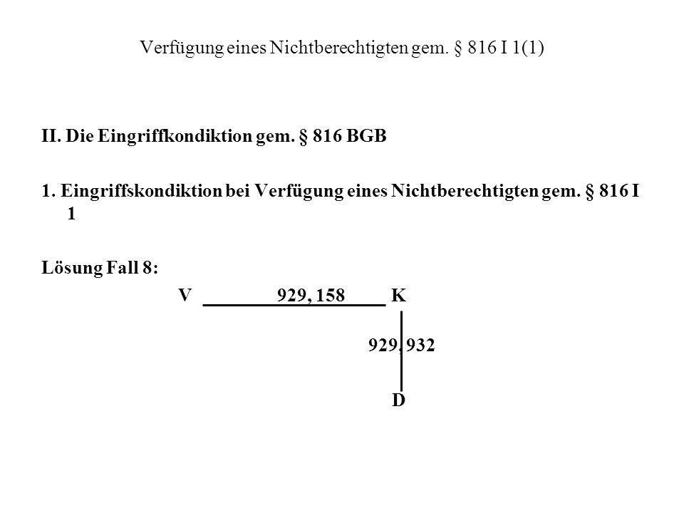Verfügung eines Nichtberechtigten gem. § 816 I 1(1) II. Die Eingriffkondiktion gem. § 816 BGB 1. Eingriffskondiktion bei Verfügung eines Nichtberechti