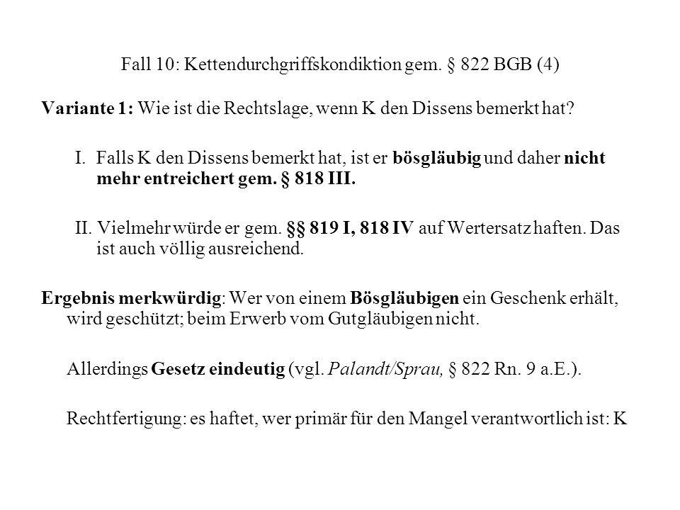 Fall 10: Kettendurchgriffskondiktion gem. § 822 BGB (4) Variante 1: Wie ist die Rechtslage, wenn K den Dissens bemerkt hat? I. Falls K den Dissens bem