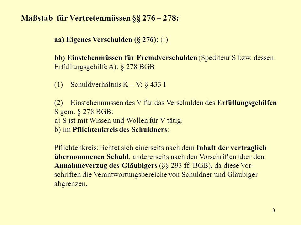3 Maßstab für Vertretenmüssen §§ 276 – 278: aa) Eigenes Verschulden (§ 276): (-) bb) Einstehenmüssen für Fremdverschulden (Spediteur S bzw. dessen Erf