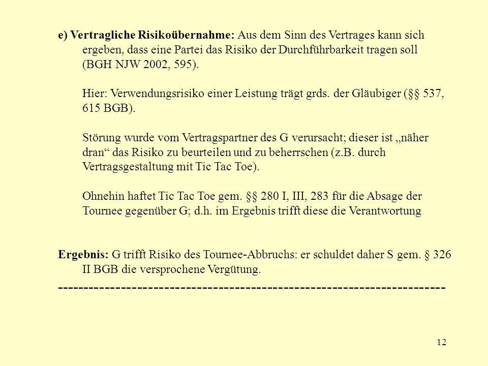 12 e) Vertragliche Risikoübernahme: Aus dem Sinn des Vertrages kann sich ergeben, dass eine Partei das Risiko der Durchführbarkeit tragen soll (BGH NJ