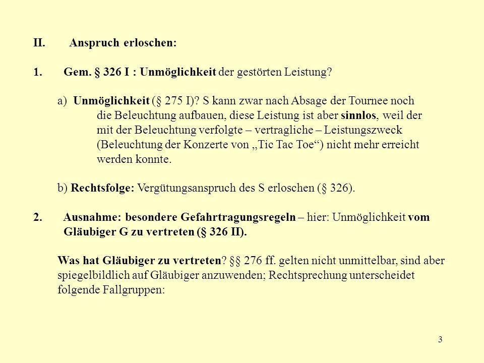 4 a) Schuldhafte Verletzung von vertraglichen Mitwirkungspflichten Beispiel: V§ 433K Verpflichtung, Grundstück ZVGläubiger G zu befriedigen GV K: §§ 433 II, 326 II, 2.