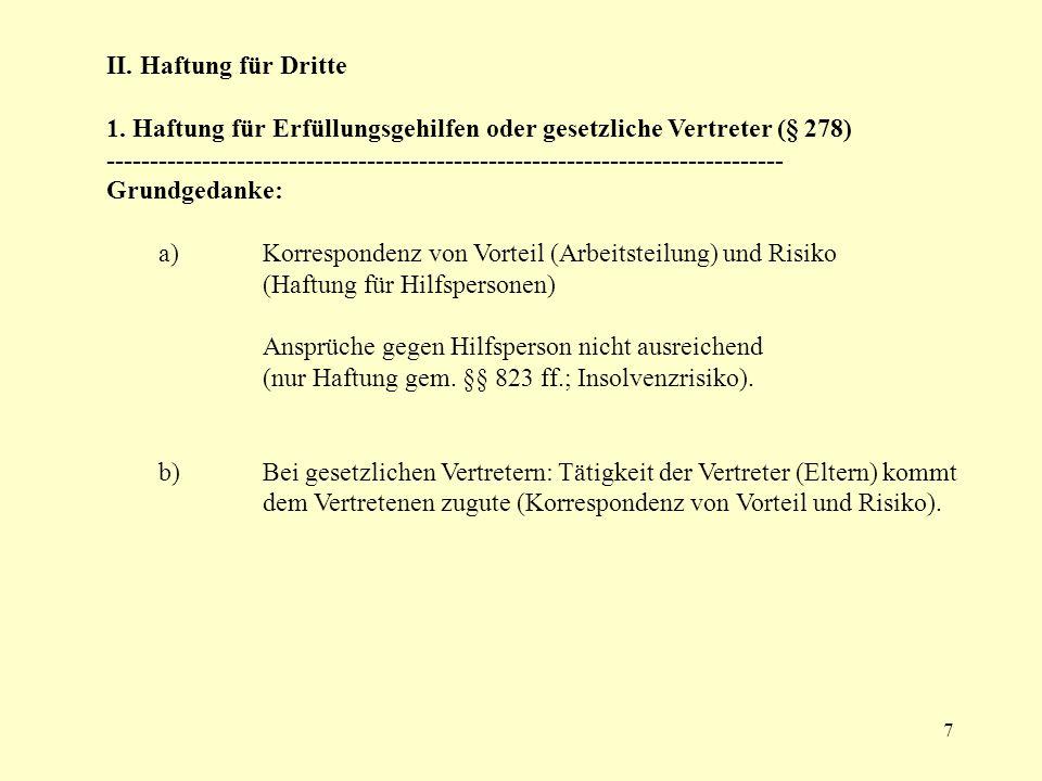 8 b) Voraussetzungen: aa) Bestehendes Schuldverhältnis (Sonderverbindung): Schuldner muss sich der Hilfsperson zur Erfüllung seiner Verbindlichkeit bedienen - gilt sowohl für Haupt-, als auch für Nebenpflichten Fall 2: Dachdeckermeister U haftet gem.