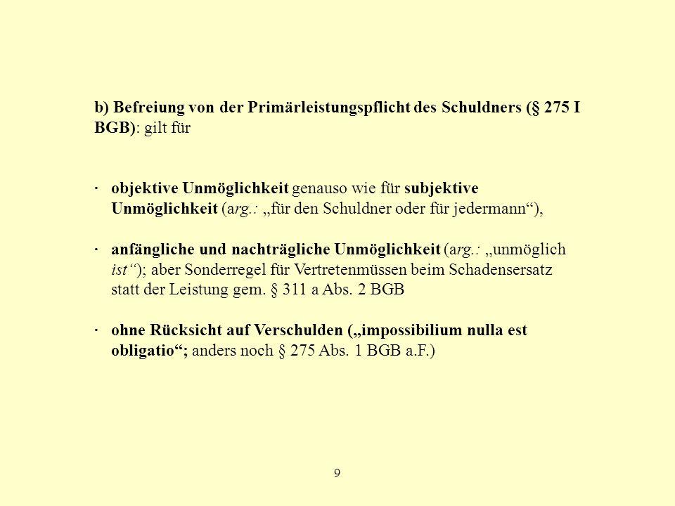 9 b) Befreiung von der Primärleistungspflicht des Schuldners (§ 275 I BGB): gilt für ·objektive Unmöglichkeit genauso wie für subjektive Unmöglichkeit