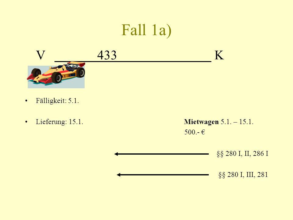 Fall 1a) V 433 K Fälligkeit: 5.1. Lieferung: 15.1. Mietwagen 5.1. – 15.1. 500.- §§ 280 I, II, 286 I §§ 280 I, III, 281