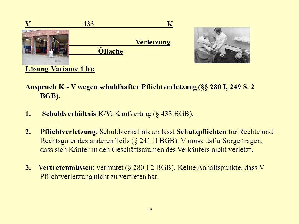 18 V 433 K Verletzung Öllache Lösung Variante 1 b): Anspruch K - V wegen schuldhafter Pflichtverletzung (§§ 280 I, 249 S. 2 BGB). 1. Schuldverhältnis