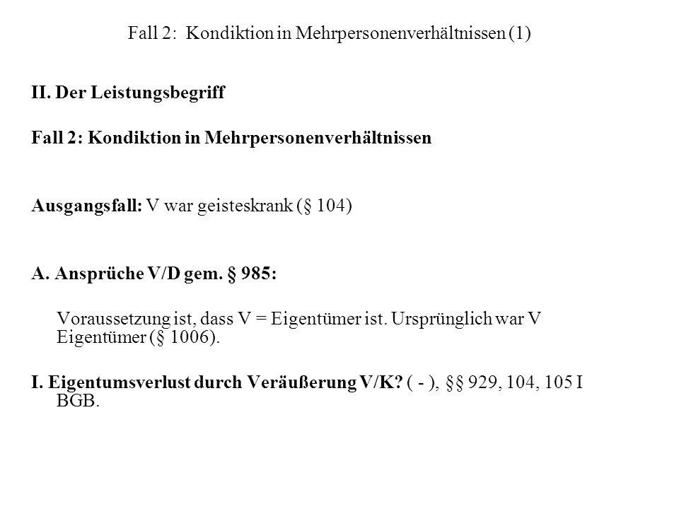 Fall 2: Kondiktion in Mehrpersonenverhältnissen (1) II. Der Leistungsbegriff Fall 2: Kondiktion in Mehrpersonenverhältnissen Ausgangsfall: V war geist