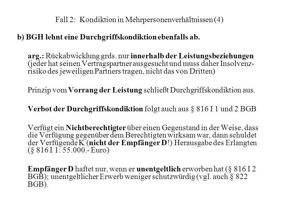 Fall 2: Kondiktion in Mehrpersonenverhältnissen (4) b) BGH lehnt eine Durchgriffskondiktion ebenfalls ab. arg.: Rückabwicklung grds. nur innerhalb der