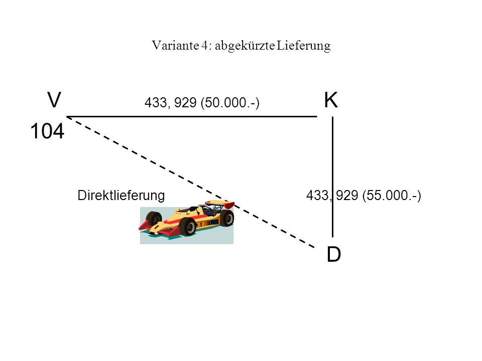 Variante 4: abgekürzte Lieferung V 433, 929 (50.000.-) K 104 Direktlieferung 433, 929 (55.000.-) D