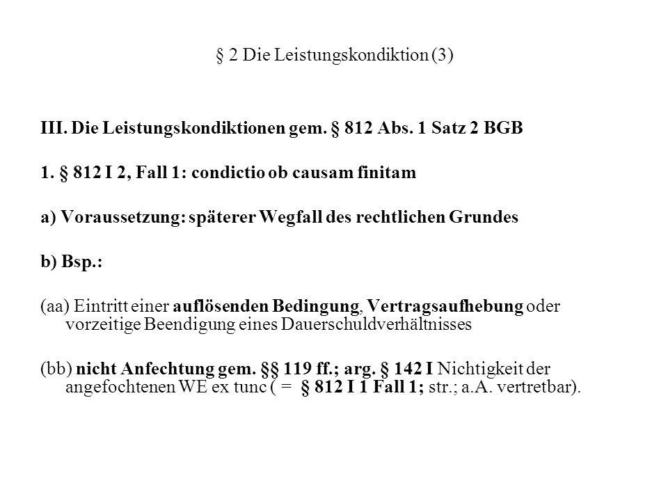 § 2 Die Leistungskondiktion (3) III. Die Leistungskondiktionen gem. § 812 Abs. 1 Satz 2 BGB 1. § 812 I 2, Fall 1: condictio ob causam finitam a) Vorau