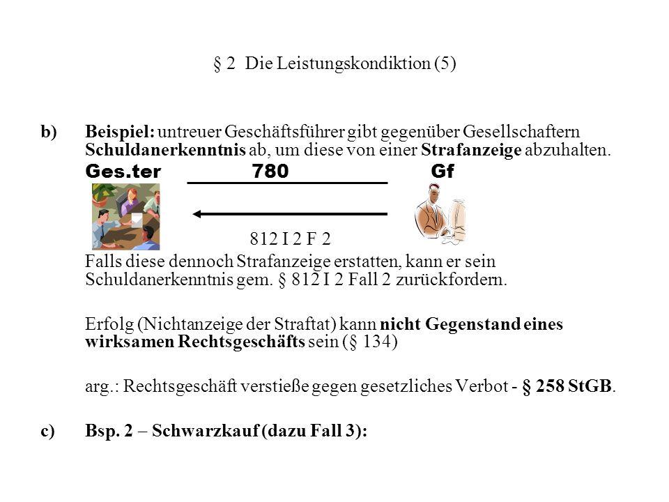 § 2 Die Leistungskondiktion (5) b) Beispiel: untreuer Geschäftsführer gibt gegenüber Gesellschaftern Schuldanerkenntnis ab, um diese von einer Strafan