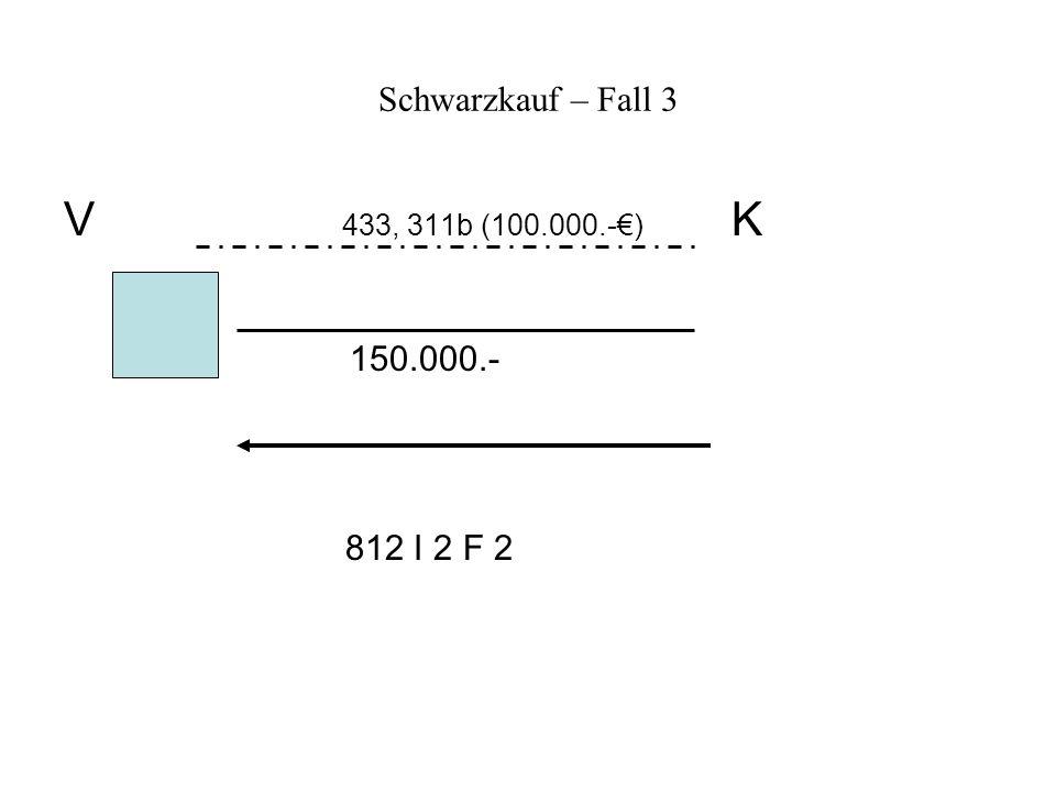 Schwarzkauf – Fall 3 V 433, 311b (100.000.-) K 150.000.- 812 I 2 F 2
