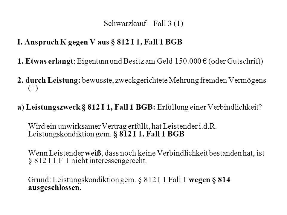 Schwarzkauf – Fall 3 (1) I. Anspruch K gegen V aus § 812 I 1, Fall 1 BGB 1. Etwas erlangt: Eigentum und Besitz am Geld 150.000 (oder Gutschrift) 2. du