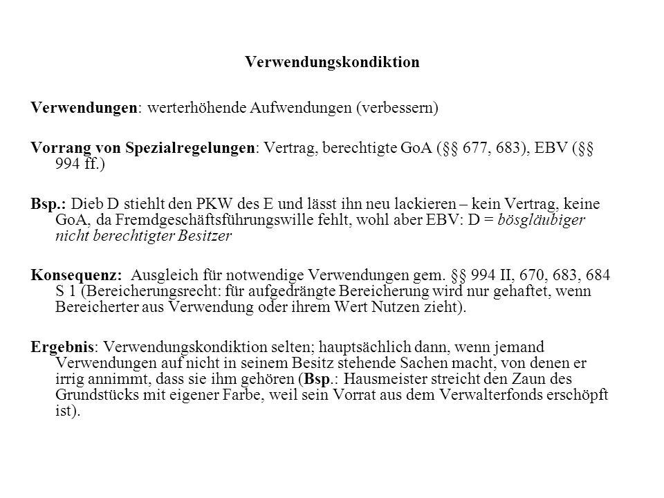 Verwendungskondiktion Verwendungen: werterhöhende Aufwendungen (verbessern) Vorrang von Spezialregelungen: Vertrag, berechtigte GoA (§§ 677, 683), EBV