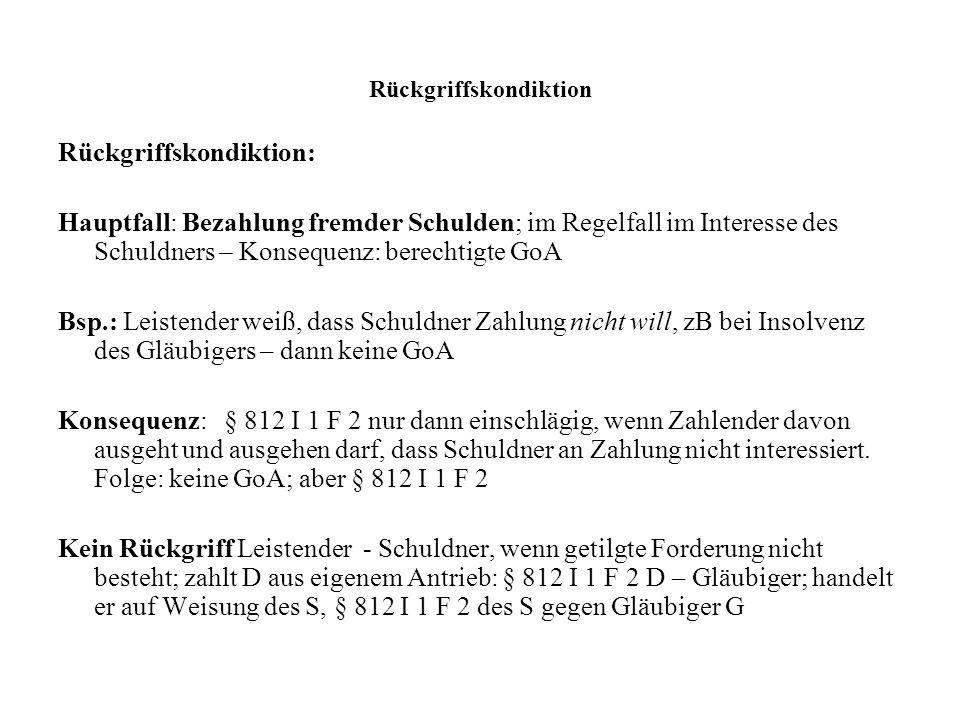 Rückgriffskondiktion Rückgriffskondiktion: Hauptfall: Bezahlung fremder Schulden; im Regelfall im Interesse des Schuldners – Konsequenz: berechtigte G