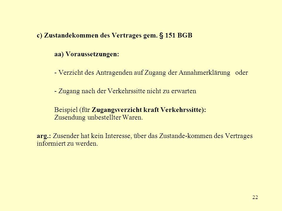 22 c) Zustandekommen des Vertrages gem. § 151 BGB aa) Voraussetzungen: - Verzicht des Antragenden auf Zugang der Annahmerklärung oder - Zugang nach de
