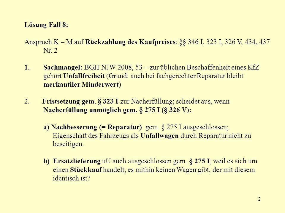 13 (1)kleiner Schadensersatz, §§ 437 Nr.